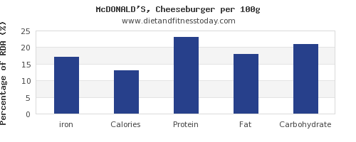 iron and nutrition facts in a cheeseburger per 100g