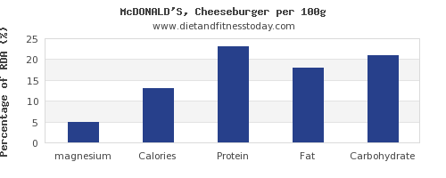 magnesium and nutrition facts in a cheeseburger per 100g