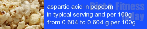 aspartic acid in popcorn information and values per serving and 100g