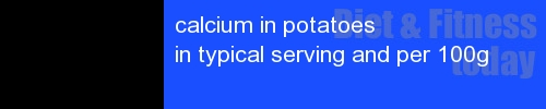 calcium in potatoes information and values per serving and 100g