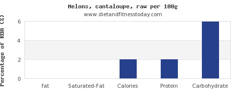 fat and nutrition facts in cantaloupe per 100g