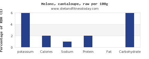 potassium and nutrition facts in cantaloupe per 100g