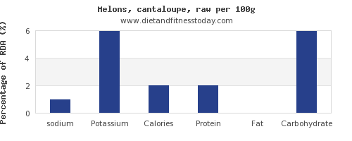 sodium and nutrition facts in cantaloupe per 100g