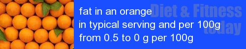 fat in an orange information and values per serving and 100g