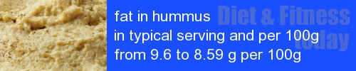 fat in hummus information and values per serving and 100g