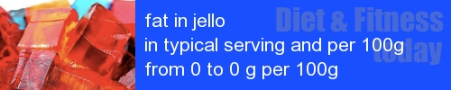 fat in jello information and values per serving and 100g