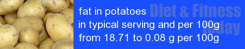fat in potatoes information and values per serving and 100g