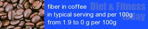fiber in coffee information and values per serving and 100g