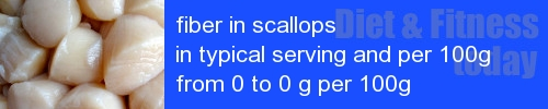 fiber in scallops information and values per serving and 100g