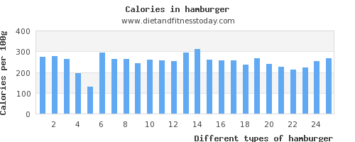 hamburger carbs per 100g