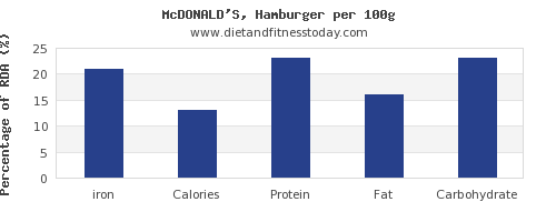 iron and nutrition facts in hamburger per 100g