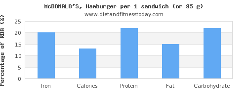 iron and nutritional content in hamburger