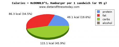 niacin, calories and nutritional content in hamburger