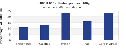 phosphorus and nutrition facts in hamburger per 100g