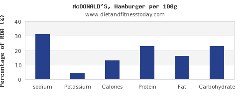 sodium and nutrition facts in hamburger per 100g