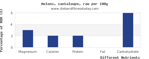 chart to show highest magnesium in cantaloupe per 100g