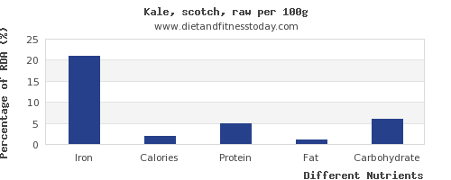 chart to show highest iron in kale per 100g