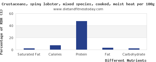 chart to show highest saturated fat in lobster per 100g
