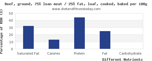 chart to show highest saturated fat in meatloaf per 100g