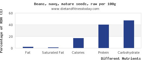 chart to show highest fat in navy beans per 100g