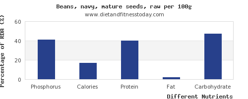 chart to show highest phosphorus in navy beans per 100g