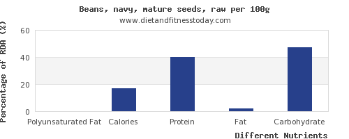 chart to show highest polyunsaturated fat in navy beans per 100g