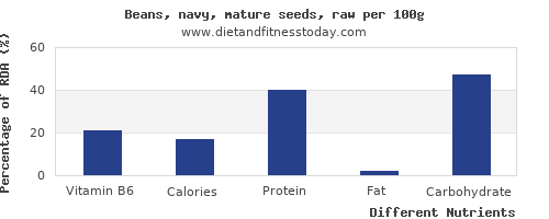 chart to show highest vitamin b6 in navy beans per 100g