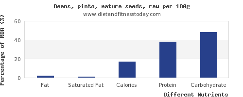 chart to show highest fat in pinto beans per 100g