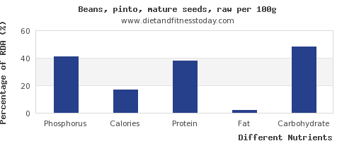 chart to show highest phosphorus in pinto beans per 100g