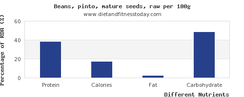 chart to show highest protein in pinto beans per 100g