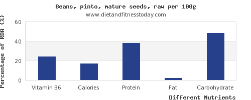 chart to show highest vitamin b6 in pinto beans per 100g