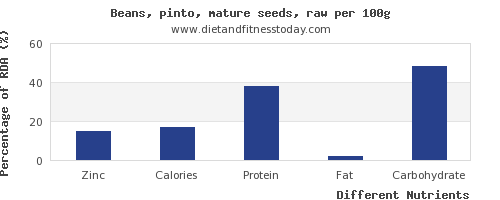 chart to show highest zinc in pinto beans per 100g