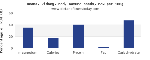 magnesium and nutrition facts in kidney beans per 100g