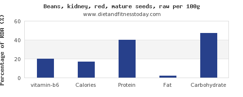 vitamin b6 and nutrition facts in kidney beans per 100g