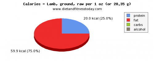 calories, calories and nutritional content in lamb