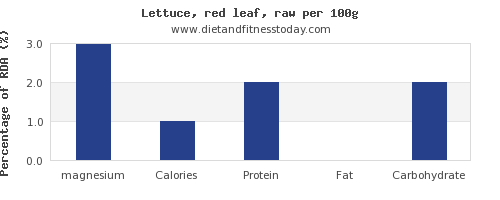 magnesium and nutrition facts in lettuce per 100g