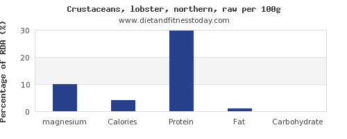 magnesium and nutrition facts in lobster per 100g