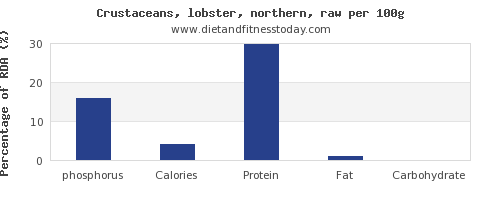 phosphorus and nutrition facts in lobster per 100g