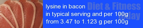 lysine in bacon information and values per serving and 100g