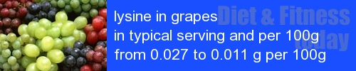 lysine in grapes information and values per serving and 100g
