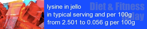 lysine in jello information and values per serving and 100g