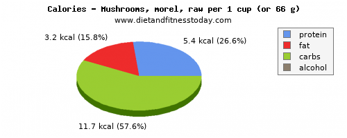 thiamine, calories and nutritional content in mushrooms