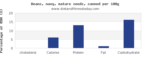 cholesterol and nutrition facts in navy beans per 100g