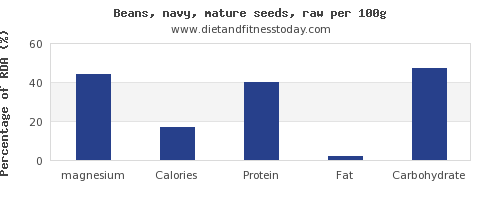 magnesium and nutrition facts in navy beans per 100g