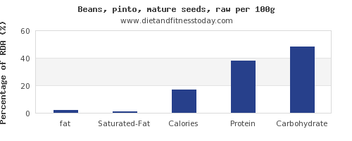 fat and nutrition facts in pinto beans per 100g