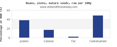 protein and nutrition facts in pinto beans per 100g