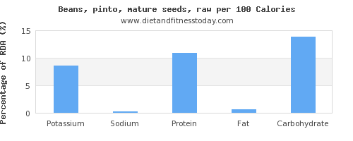 potassium and nutrition facts in pinto beans per 100 calories