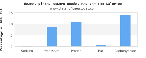 sodium and nutrition facts in pinto beans per 100 calories