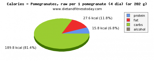 water, calories and nutritional content in pomegranate