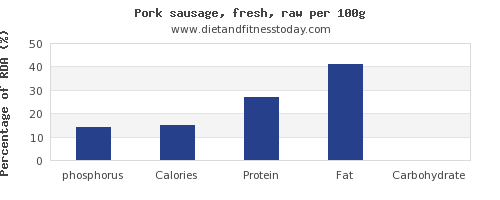 phosphorus and nutrition facts in pork sausage per 100g